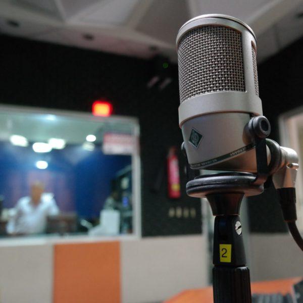 Microphone inside a studio